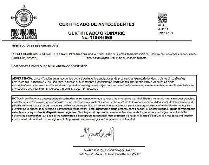 Certificado antecedentes procuraduria